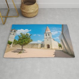 Square of the Glagolitic Monks with Church of St Francis, Town of Krk on the island of Krk, Croatia Rug