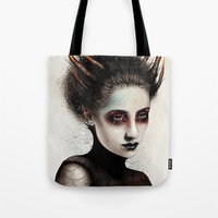 death Tote Bags featuring Death by Feline Zegers