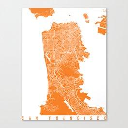 San Francisco map orange Canvas Print