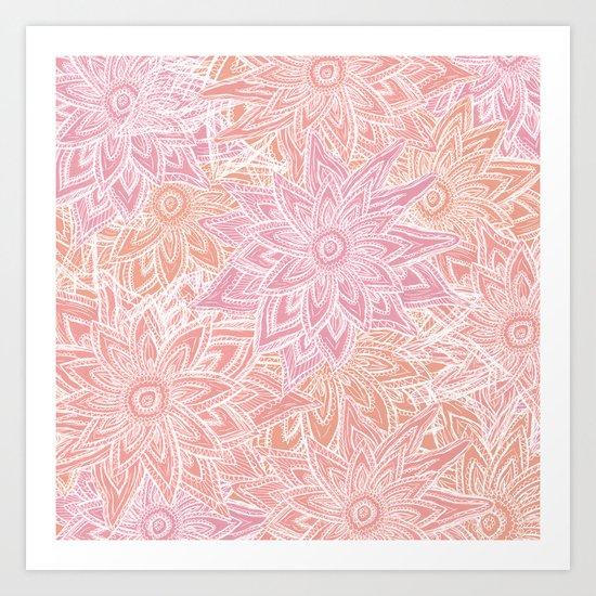 Pink Pastel Flowers Art Print