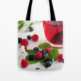 Red Berries Tea, colorful food and Drink kombination Tote Bag