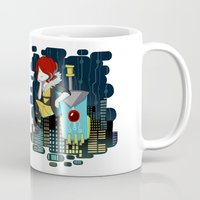 transistor Mugs featuring Transistor Welcome to Cloudbank by Cycha