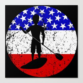 American Flag Paddleboarding Canvas Print