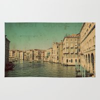 postcard Area & Throw Rugs featuring Venice postcard by Sylvia Cook Photography