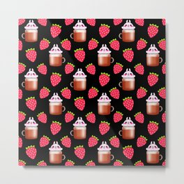 Cute little happy funny pink little baby bunnies sitting in cappuccino coffee cups, yummy red ripe sweet summer strawberries black fruity pattern design. Metal Print