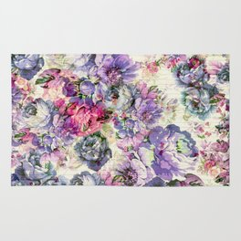 Vintage bohemian rustic pink lavender floral Rug