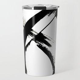 Brushstroke 7: a minimal, abstract, black and white piece Travel Mug