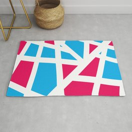 Abstract Interstate  Roadways Aqua Blue & Hot Pink Color Rug