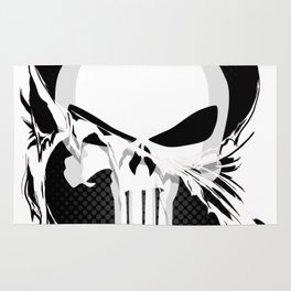 Punisher Skull Within Ripped Fabric Rug