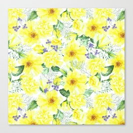 watercolor pattern yellow roses Canvas Print