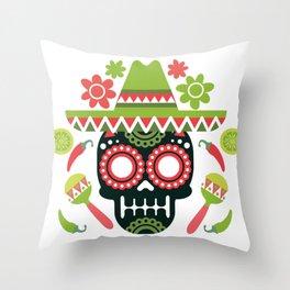 Mexican Cinco De Mayo Skull Party Throw Pillow