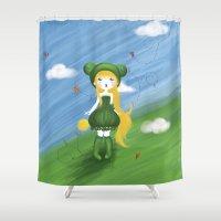 ballon Shower Curtains featuring La princesse grenouille au ballon d'or by Poome et les petites choses
