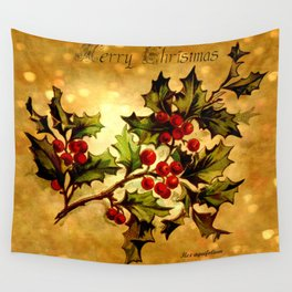 Christmas Holly, Vintage Botanical Illustration Collage Wall Tapestry