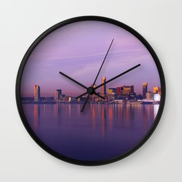 Liverpool Port Night Lights Sunset Panorama United Kingdom Wall Clock