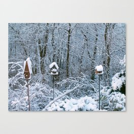 Birdhouses in Winter Canvas Print