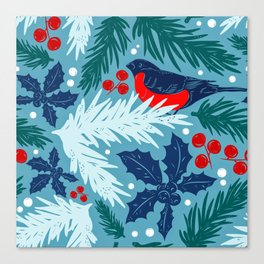 Christmas Tree With Bird and Holly Pattern Canvas Print