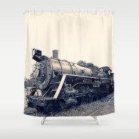 train Shower Curtains featuring Train by Jaramillo Velez