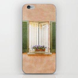Peach and Green Window in Venice iPhone Skin