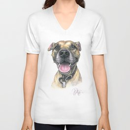 """Winston Xavier"" the Rescue Boxer Pitbull by Betsy VanDeusen Unisex V-Neck"