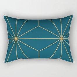 Peacock blue geometrical pyramid Rectangular Pillow