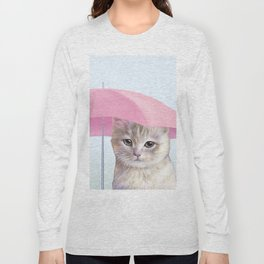 cat with umbrella for no reason Long Sleeve T-shirt