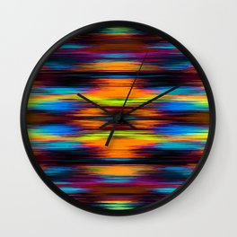 vintage psychedelic geometric abstract pattern in orange brown blue yellow Wall Clock