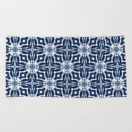 Watercolor Shibori Indigo Beach Towel