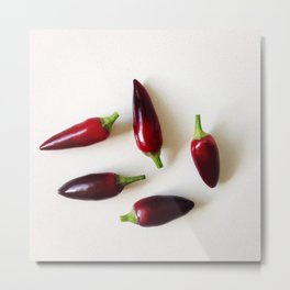 Chilies on a Benchtop Metal Print