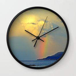 Rainbow on the Coastal Town Wall Clock