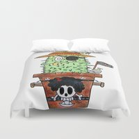 luffy Duvet Covers featuring Cactus Luffy by Vania Pietronigro