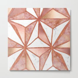 Rose Gold Marble Geometric Abstract Metal Print