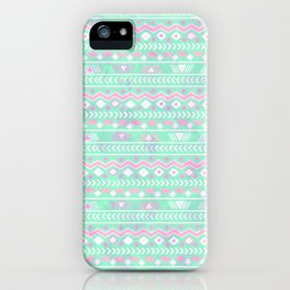 Pink teal watercolor tribal geometrical pattern iPhone Case