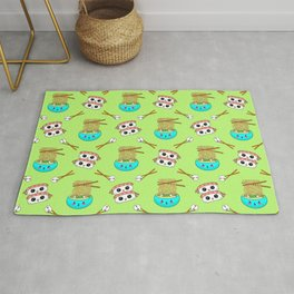 Cute funny Kawaii chibi little blue bowl ramen noodles, happy cheerful sushi with shrimp on top, rice balls and chopsticks pastel lime green pattern design. Nursery decor. Rug