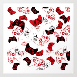 Video Game White and Red Art Print