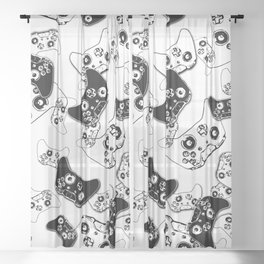 Video Game Black on White Sheer Curtain