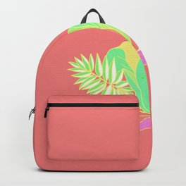 Hot tropical flowers and palms Backpack
