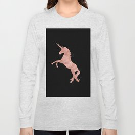 Unicorn Pink Rose Gold Black Long Sleeve T-shirt