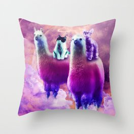 Kitty Cat Riding On Rainbow Llama In Space Throw Pillow