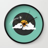 records Wall Clocks featuring Sunburst Records by Dianne Delahunty