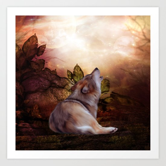 Awesome wolf Art Print