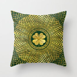 Irish Four-leaf clover with Celtic Knot Throw Pillow