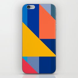 Abstract Art Minimalist Red Yellow Orange and Blue iPhone Skin