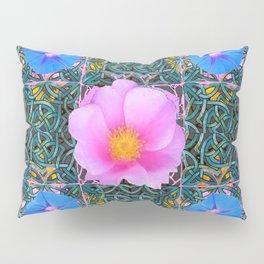 PINK  ROSE & BLUE MORNING GLORIES  BOTANICAL ART Pillow Sham