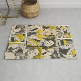 Blonde Italian Original Vintage Comics Collage Rug