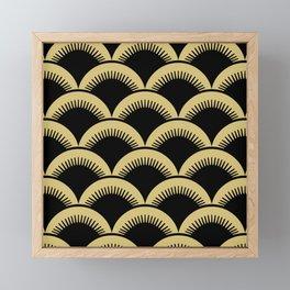 Japanese Fan Pattern Black and Gold Framed Mini Art Print