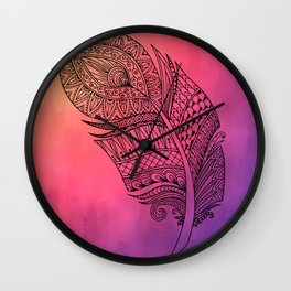 Boho Feather on Watercolors Wall Clock