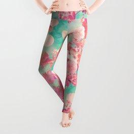 Romantic Pink Retro Floral Pattern Teal Polka Dots Leggings