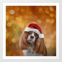 Drawing Dog breed Cavalier King Charles Spaniel  in red hat of Santa Claus Art Print