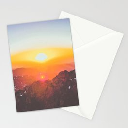 pink and orange sunrise over the mountains Stationery Cards