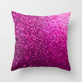 Pink Sparkle Glitter Throw Pillow
